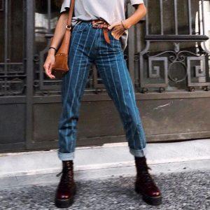 Simplee Sexy Stripe Blue Jeans Women Pants Zipper Pocket Denim Pants Casual Streetwaer Autumn Trousers 2018 High Waist Pants