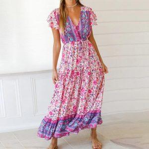 Bohemian long dress with flowers