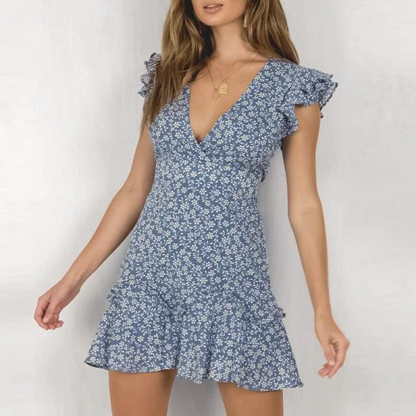 Blue Bohemian Short Dress With Small Flower