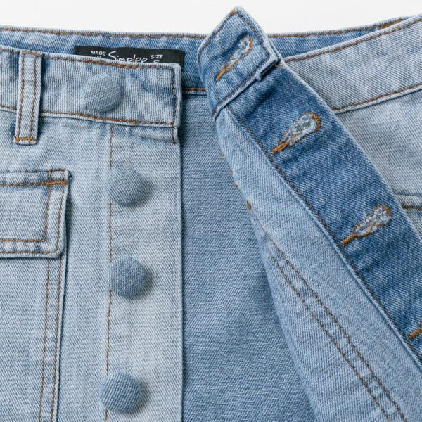 Hippie Buttoned Jean Skirt