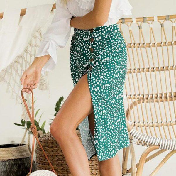 Water Green Mi-Long Skirt