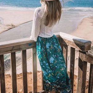Long skirt boheme green style