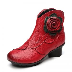 Bohemian Flower Leather Boots