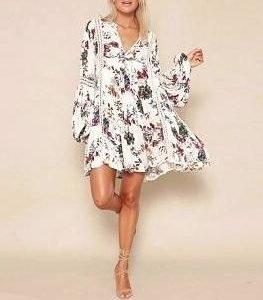 White bohemian long sleeve dress