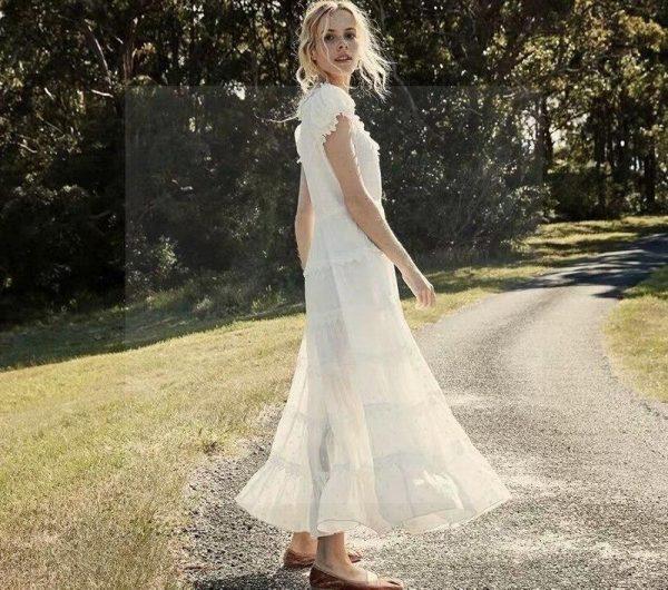 Bohemian white lace maxi dress