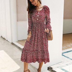 Bohemian chic long sleeve dress