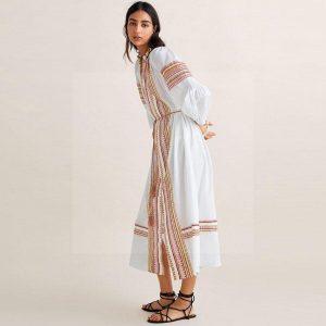 White hippie long dress