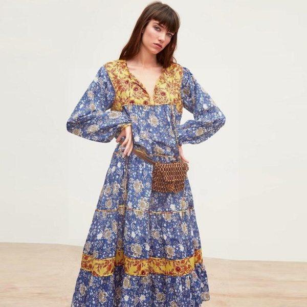 Bohemian flowing maxi dress
