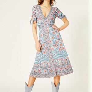 Bohemian long dress with short sleeve