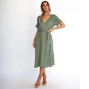Khaki Bohemian Style Dress